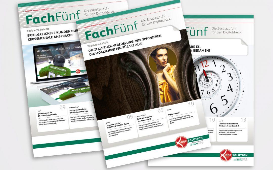 Editorial-Design: Kundenmagazin FachFünf für x-doc-solution